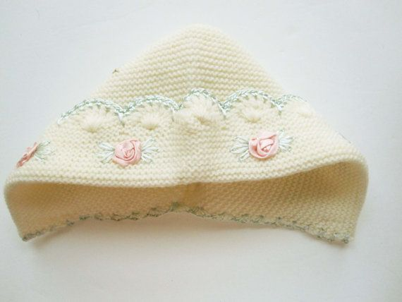 A Soft Cream Knit Baby's Hat With Pink Satin by TheChildrensRoom