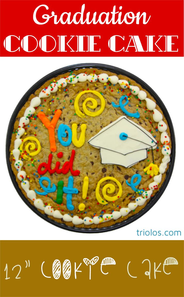 We took our classic Chocolate Chip Cookie and made it bigger, better, and cake-ier. This 12″ Cookie Cake makes for a delicious gift. Send a delicious Graduation treat with this beautifully decorated Cookie Cake.