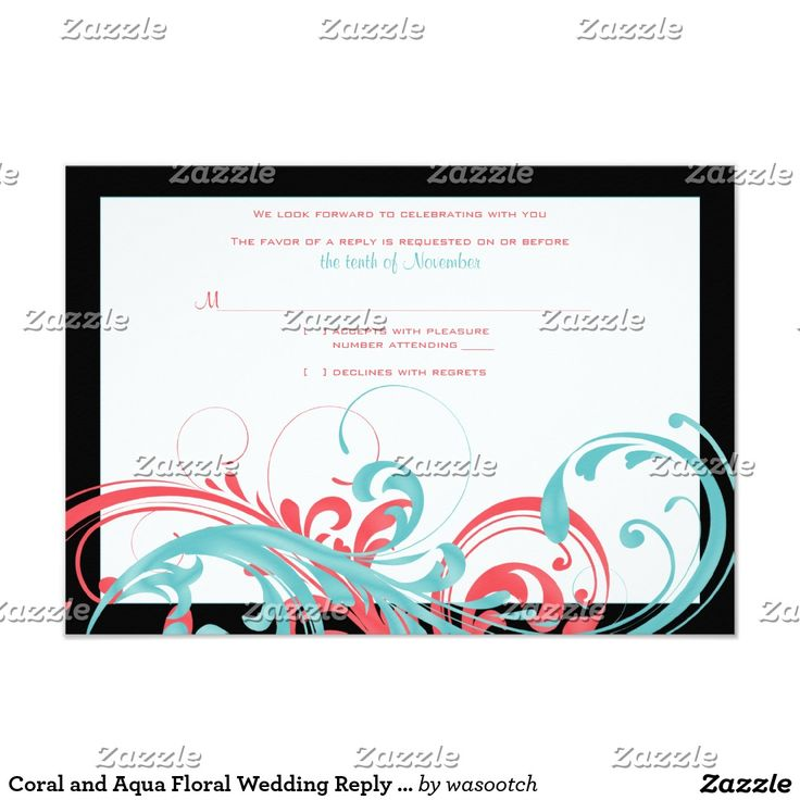 Coral and Aqua Floral Wedding Reply Card