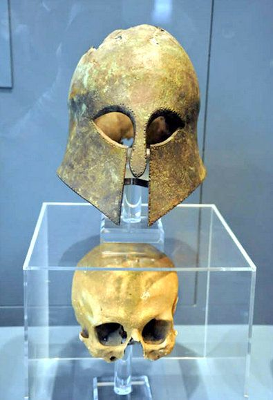 This Corinthian helmet from the Battle of Marathon was found with a human skull still inside