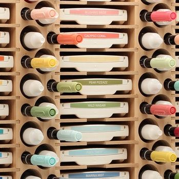 There's a place for all of your markers, ink pads, and stamp pads all in one Stamp-n-Storage unit.