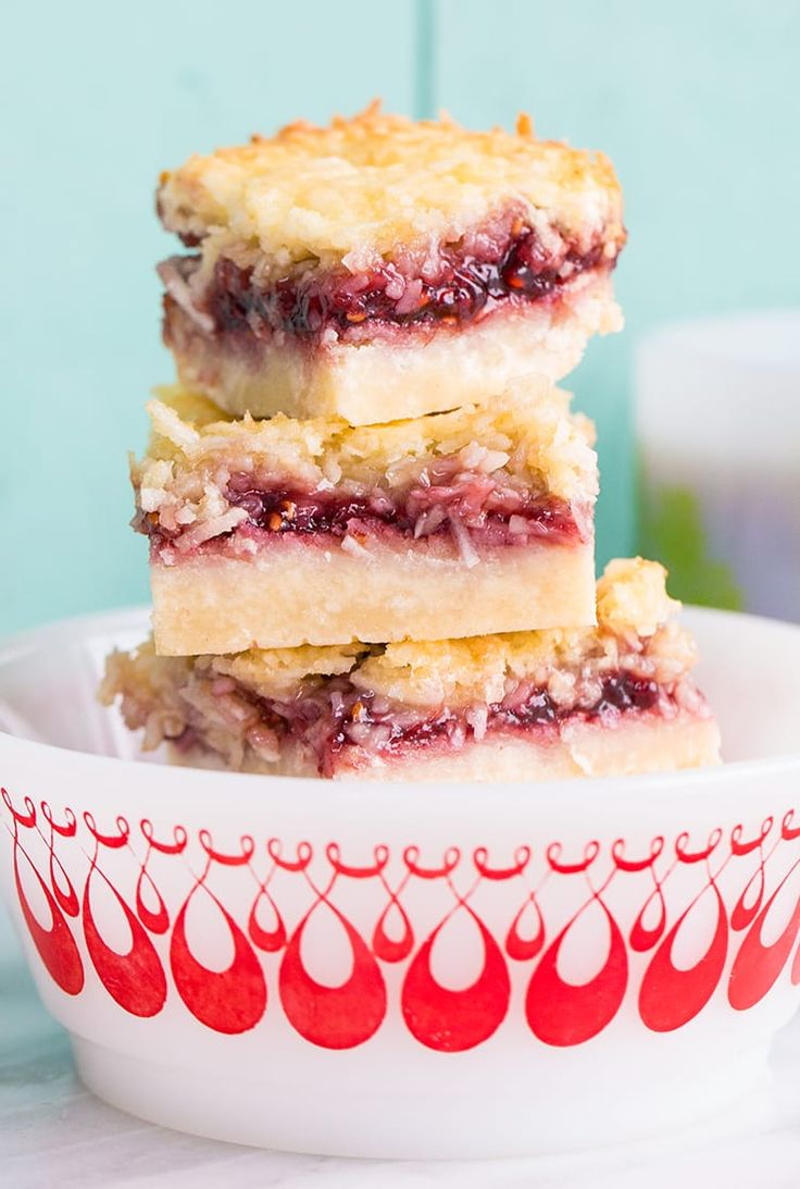 If there is one bar that I remember my Grandma Marion making when I was young, it was these raspberry coconut bars!