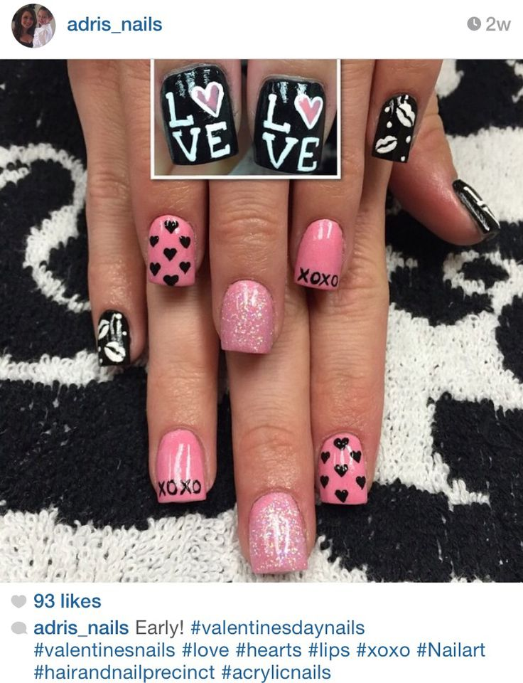 Hearts and love Valentine's Day acrylic nails by @Adris_nails