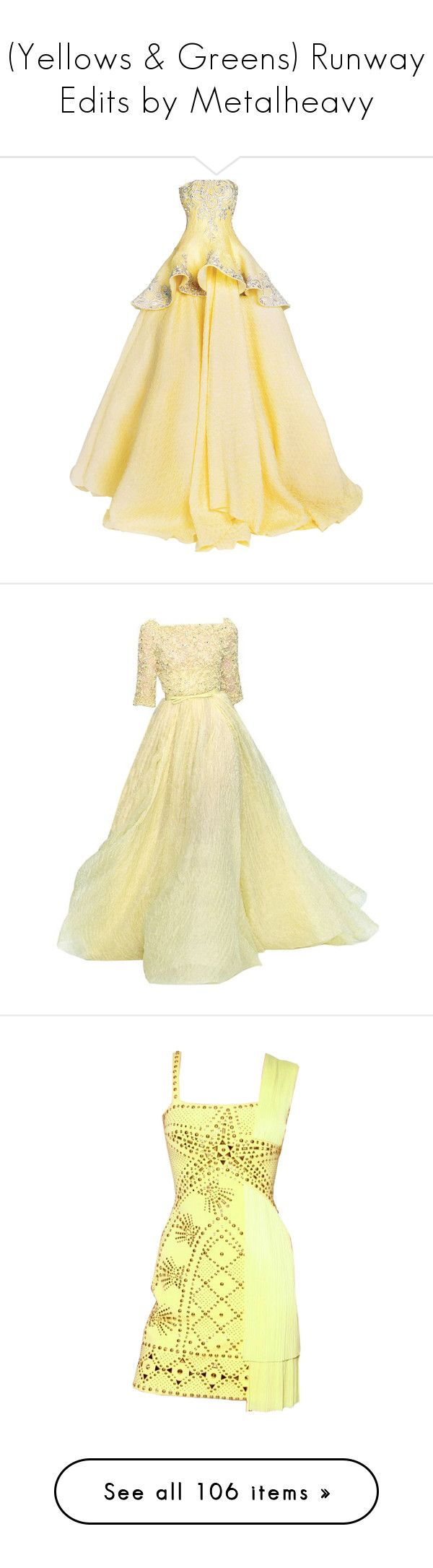 """""""(Yellows & Greens) Runway Edits by Metalheavy"""" by metalheavy ❤ liked on Polyvore featuring dresses, gowns, long dresses, rami kadi, vestidos, elie saab, long dress, beige gown, elie saab evening gowns and elie saab evening dresses"""