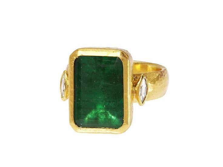 Gurhan, Emerald and Diamond Ring, 24k Gold and Emerald #Gurhan #finejewelry #alternativeengagementrings #emeraldring