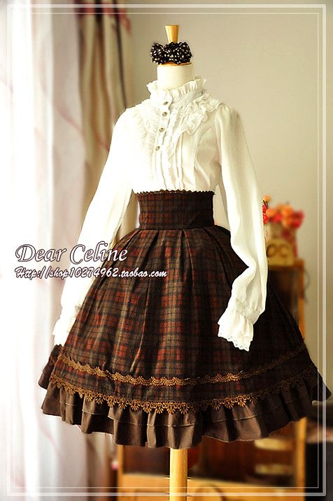 New from Dear Celine - Tartan Check Academy Corset Skirt278RMB Colours: 摩卡/咖啡色条绒格子Brown , 墨绿色条绒格子Teal , 红格子Red Made with corduroy, comes with plastic boning at the waist, there is shirring and lacing at the back. They recommend buying it slightly smaller, since it comes with shirring, and plastic boning will not look good if the skirt is too loose. followyetanotherjfashionblogfor taobao updates |facebook updatesavailable too