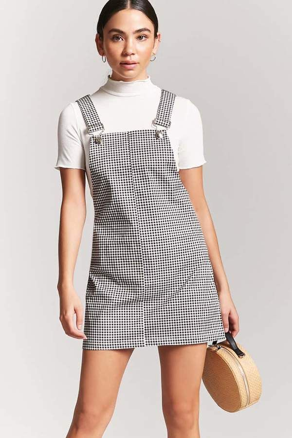 37eecb8c81a Forever 21 Gingham Mini Overall Dress