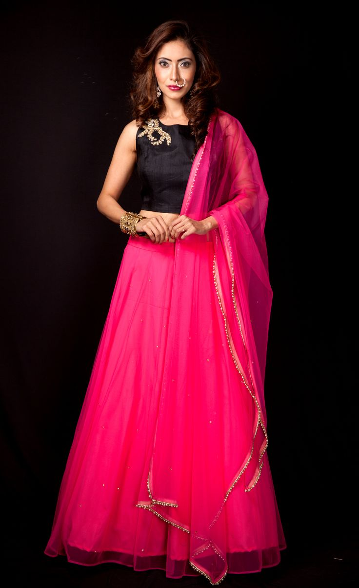 BFF's wedding is the best way to flaunt the innate fashionista in you. We bring you a range of designer collection to flaunt in each festivity of the wedding. Take a look at this 'oh so stunning' hot pink net lehenga & dupatta paired with embellished black crop top!! For booking & more information, Log on to www.rentanattire.com or call us on 7722009477. #RentAnAttire #DifferentIsBeautiful #BookitFlauntitReturnit