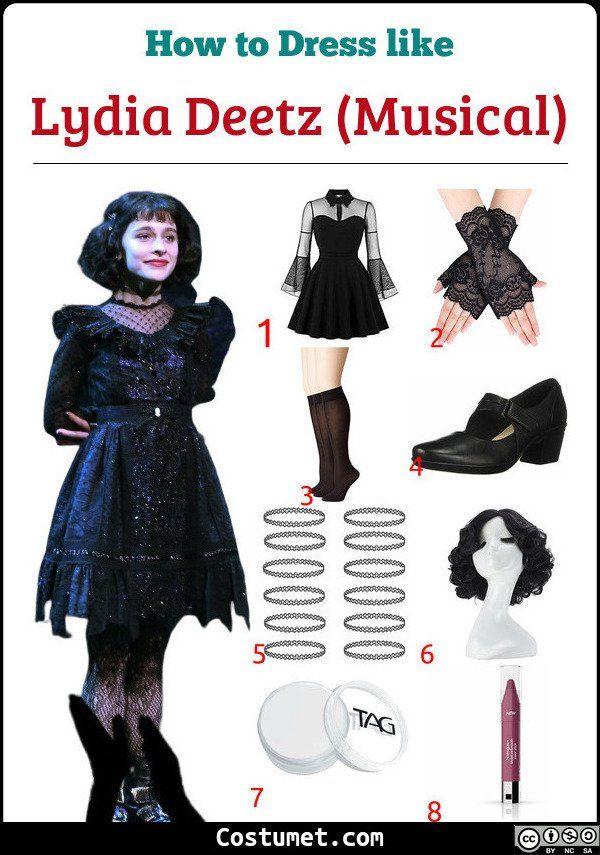 Lydia Deetz Musical Costume For Cosplay Halloween 2020 In 2020 Beetlejuice Fashion Lydia Beetlejuice Costume Lydia Deetz Costume