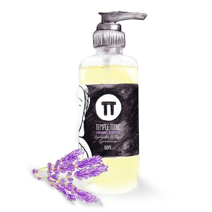 Temple Tonic Organic Body Oil - Lavender & Rose Geranium  http://www.templetonic.com/lavender--rose-geranium---organic-body-oil.html