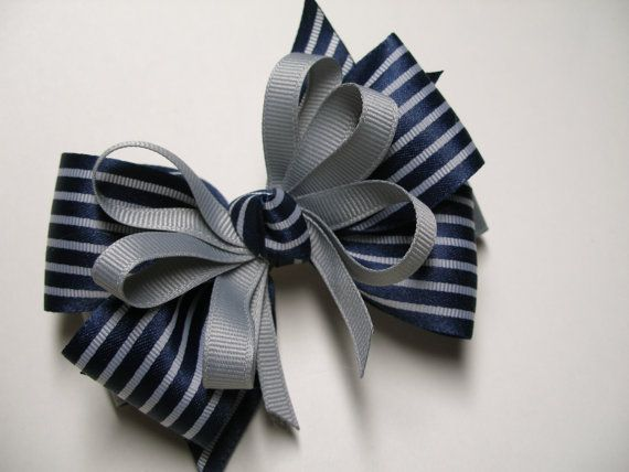 Back to School Dark NAVY Blue & Gray Hair Bow by HareBizBows