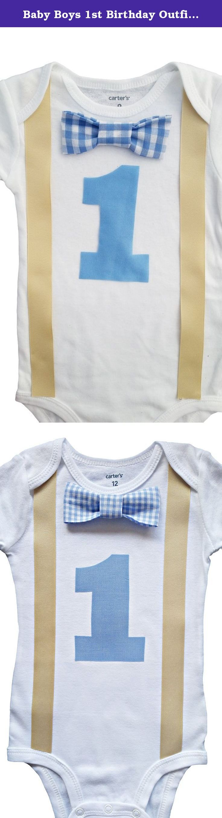 Baby Boys 1st Birthday Outfit - Blue Gingham/Khaki. Perfect Pairz Products are all handmade with care in our South Florida studio. We use Carters bodysuits - the gold standard for sizing and fit, heat apply and stop stitch our suspenders and Mickey applique. The bow tie is handsewn and then stitched to the onesie. This outfit is incredibly durable and go through multiple washes while maintaining its fit and color. We use designer fabrics for all our bowties, which is why our birthday…