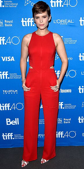 Every Fashion Moment You Need to See from the Toronto Film Festival | KATE MARA | in a sleeveless red cutout jumpsuit for the Sept. 11 The Martian press conference.