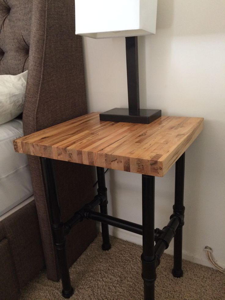 Butcher Block night stand and pipe metal