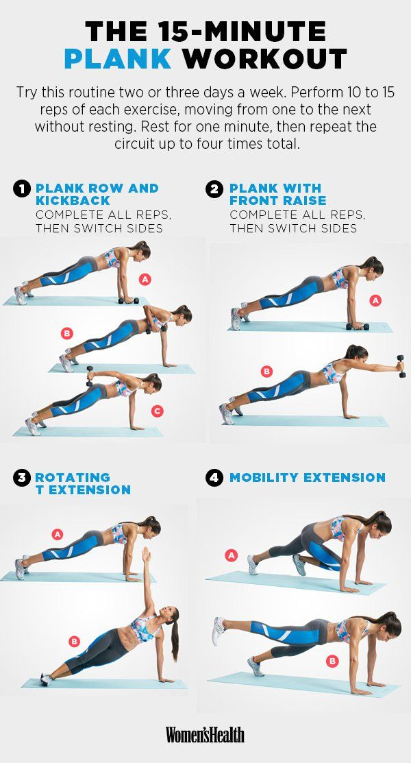 Plank Row and Kickback  https://www.womenshealthmag.com/fitness/plank-abs-workout