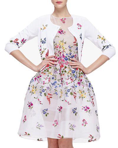 Oscar de la Renta Floral Embroidered 3/4-Sleeve Cardigan & English Garden Embroidered Organza Dress