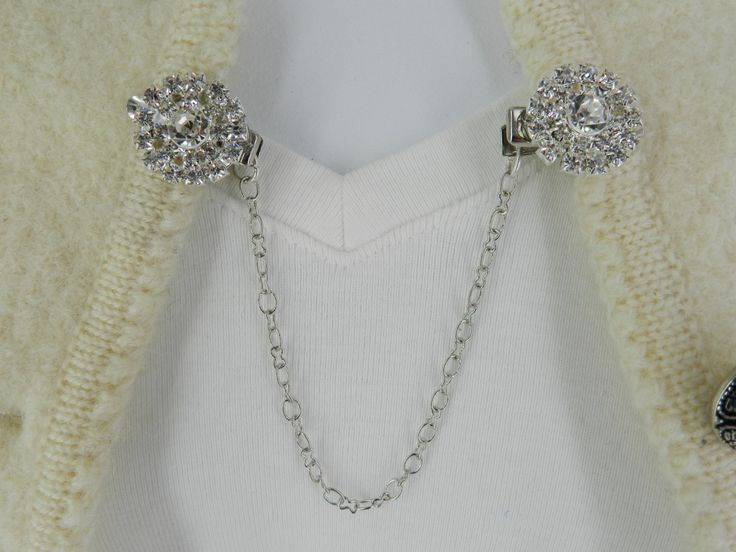 Silver sweater pin, Silver collar chain, Collar chains, Sweater pins, Cardigan clips, Cardigan guard, Sweater clasps. Sweater closure by StudioSmiley on Etsy