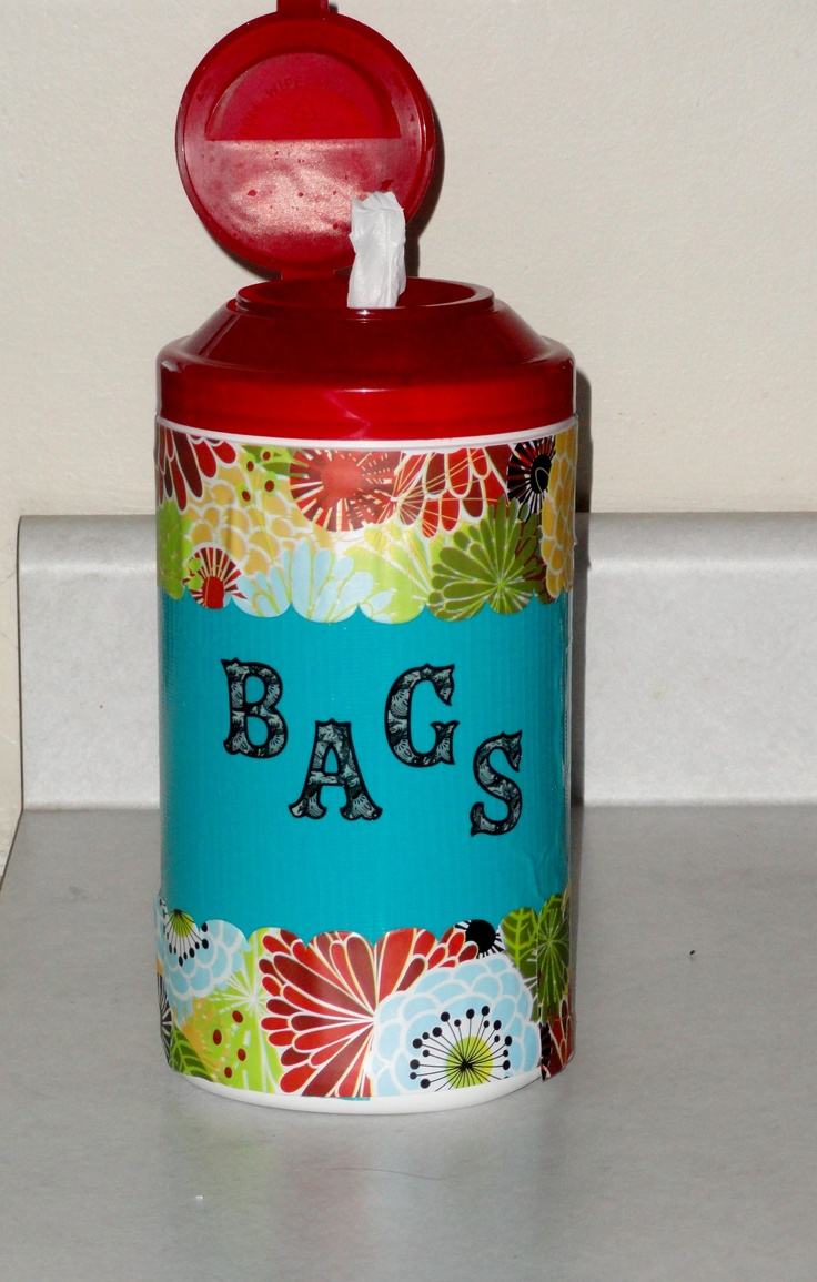 Just a large cleaning wipe container with some border, contact paper & letters :)