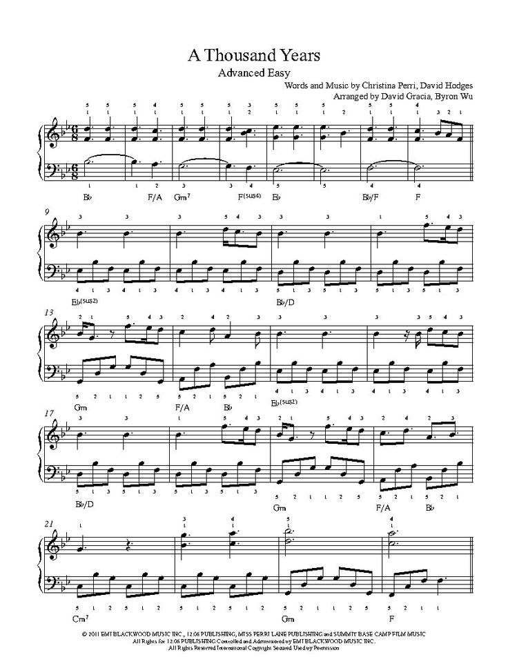 a thousand years by christina perri piano sheet music advanced level