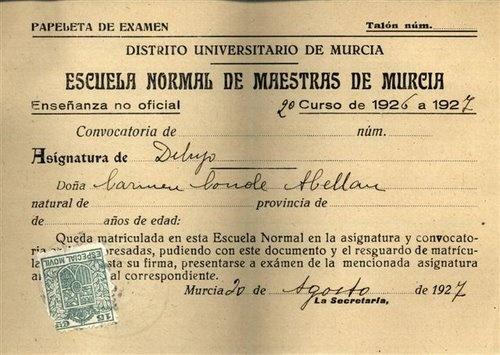 Calificación de Aprobado en la Asignatura de Dibujo, en la Escuela Normal de Maestras de Murcia, curso 1926/1927, enseñanza no oficial, 20 de agosto de 1927.