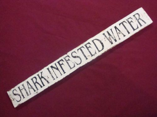 Old Wood Shark Infested Water Sign Nautical Decor Beach Warning Pool Decoration | eBay