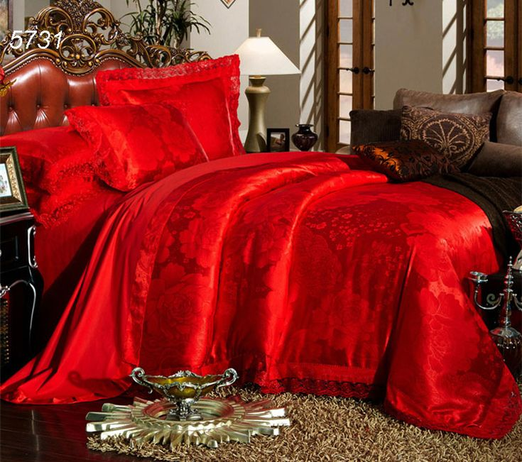 Traditional Chinese red wedding bedding set 4pcs tribute silk bed sets floral jacquard lace bed linens quilt cover bed sheet5731