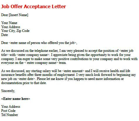 Job Offer Acceptance Letter - write a formal job acceptance letter to confirm the details of employment and to formally accept the position.