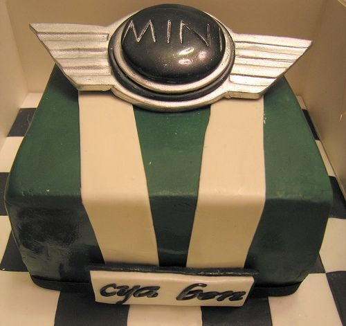 mini cooper cake decorated like their car