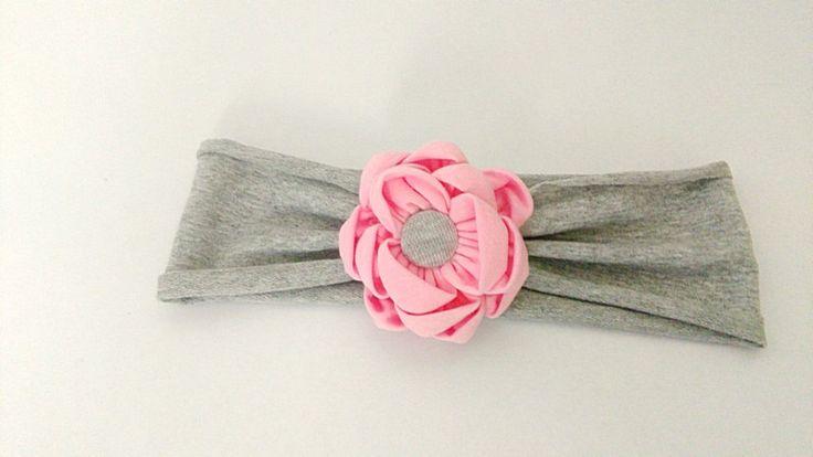 Opaska do włosów z kwiatem kanzashi - Asia-Bialas - Opaski dla dzieci