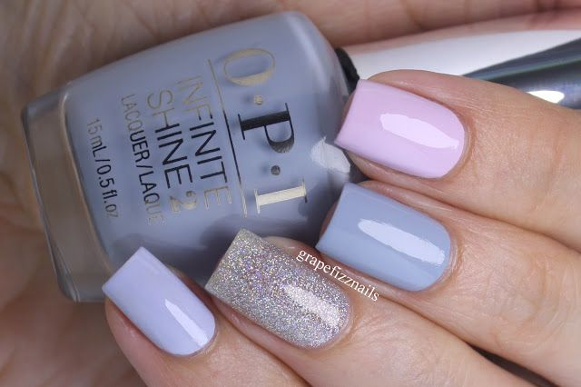 Romantic skittle manicure Pointer finger: OPI I'm Gown for Anything! /Alice Through the Looking Glass Middle finger: OPI Infinite Shine Reach for the Sky /Spring 2016 Collection  Ring finger: Revlon Holographic Pearls Pinkie finger: OPI I Am What I Amethyst /Soft Shades Spring 2016 Collection
