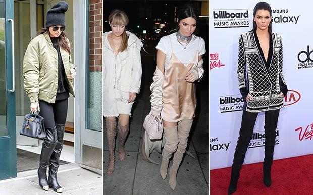 Outros modelos - além dos clássicos, Kendall também está sempre aberta às novidades! Ela já foi vista usando botas bikers (bem pesadas e cheias de detalhes, como fivelas) com seus queridos mom jeans e trouxe de volta as botinhas acolchoadas da Ugg para os holofotes do mundo fashion! Já a botinha caramelo de suede é uma superaposta para looks com aquele toque setentinha!