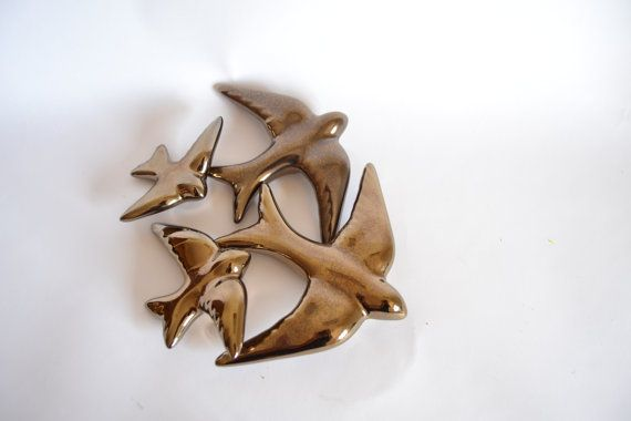 Golden Swallows for Wall Decor Projects. Set of by FeiradeBarcelos