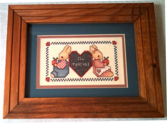 A+ Teacher Bunny and Heart Needlepoint.