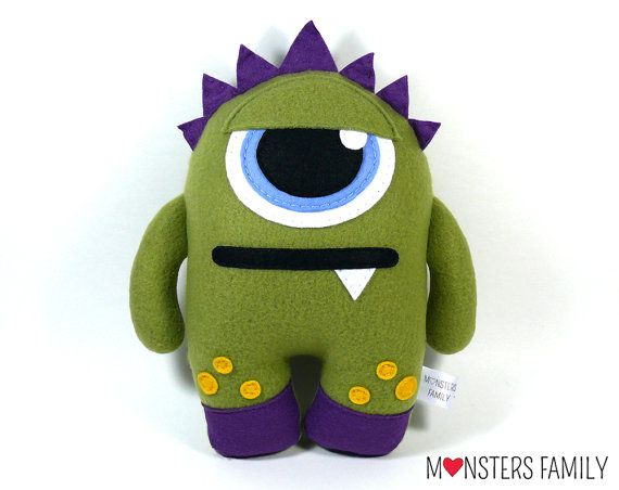 Grumpy Monster Plush Toy to snuggling. Who does want to cheer him up?  Plush Monster Toy, Monster Plush, Stuffed Monster, Stuffed Animal, Personalized Toy, Plushie, Baby Stuff, Cute Plush Toy, Baby Gift, Nursery