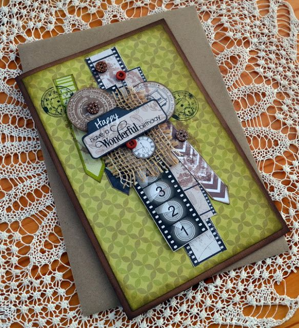 ScrapBerry's: Beautiful masculine birthday card made with the vintage Photo Archive collection by Denise van Deventer.