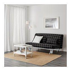 IKEA - IKEA PS LÖVÅS, 2er-Bettsofa, Rute schwarz,  , , Ein Extrabezug gibt dem Möbelstück und damit dem Raum im Nu ein neues Aussehen.Auswahl unter drei Matratzentypen und vielen Bezügen für individuelle Kombinationen ganz nach Geschmack.Einfache, feste Matratze; geeignet für allnächtliche Benutzung.Leicht sauber zu halten - der abnehmbare Matratzenbezug kann chemisch gereinigt werden.