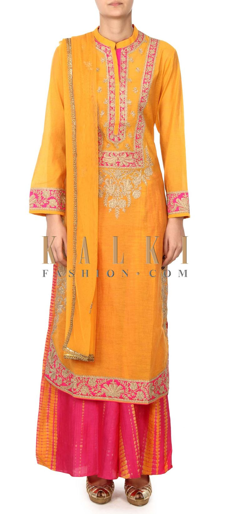 Buy this Yellow straight suit in zari embroidered placket only on Kalki