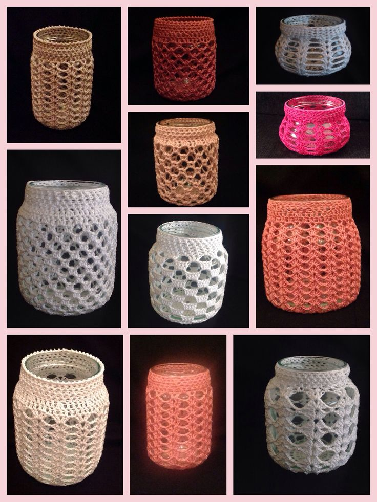 crochet jar covers - no pattern, great ideas