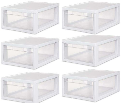 Sterilite 23608006 Medium Modular Drawer White Frame with Clear Drawers 6Pack >>> To view further for this item, visit the image link.