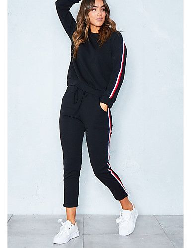 Women's Sports Casual Winter Hoodie Pant Suits,Solid Round Neck Long Sleeve Stripe Cotton Polyester Micro-elastic, LightInTheBox