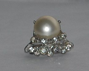 HAVING A STORE WIDE CLEARANCE!! Rhinestone white pearl bead brooch by Everjeweledvintage on Etsy