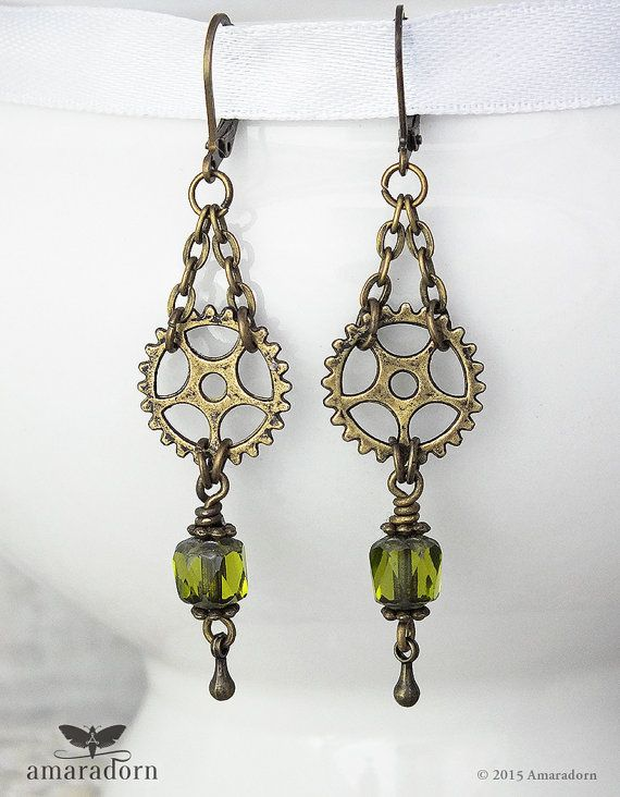 Grungy Gears Earrings Olive Green Steampunk Earrings by Amaradorn