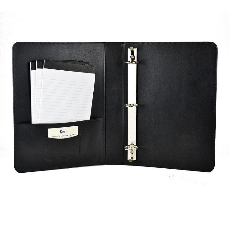 Royce Leather 1 1/2-in. Ring Binder, Black