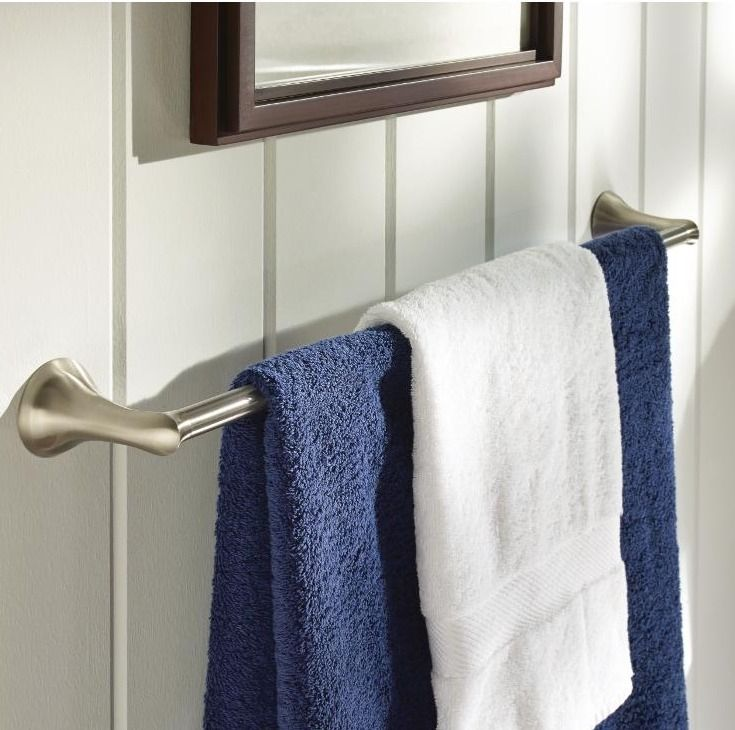 This 24 In. In. Towel Bar Is Constructed Of Zinc In Brushed Nickel.