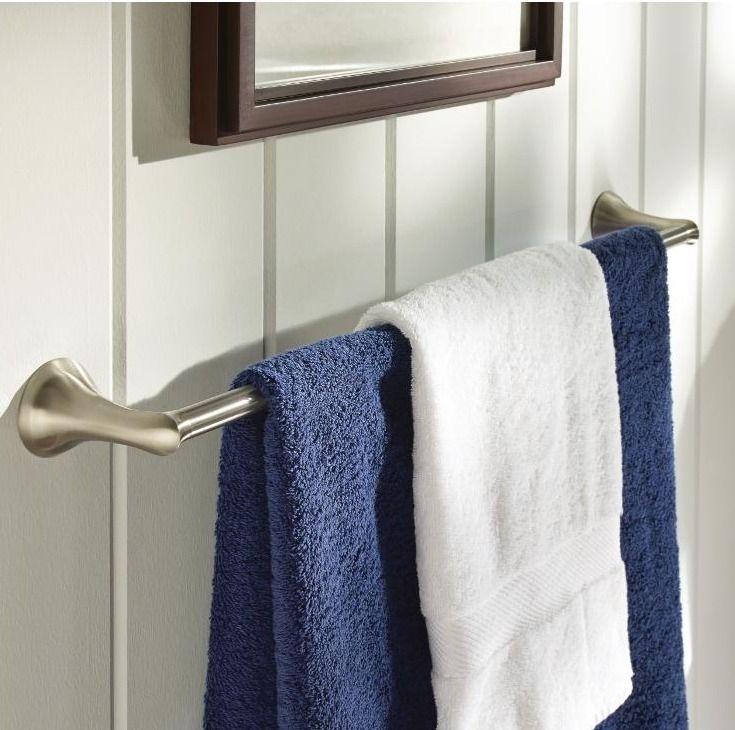 Moen Darcy 24 In Towel Bar With Press And Mark In Brushed Nickel Bathroom Hardwaretowel Barsbrushed Nickelhome Depotbathroom