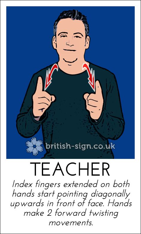 Today's British Sign Language sign is: TEACHER - learn more online at www.british-sign.co.uk