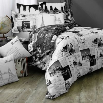 Passport Reversible Duvet Cover Set, 100% Cotton - BedBathandBeyond.com Re-doing my room in and its in the black and white Paris, London, and Rome theme. This is perfect!
