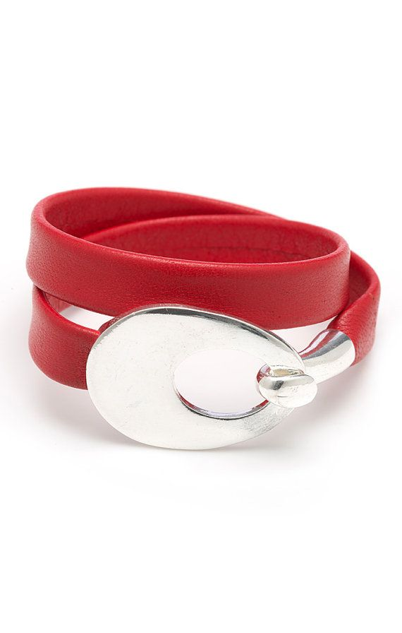 Red Double Leather Wrap Bracelet by wrapsbyrenzel on Etsy, $24.95