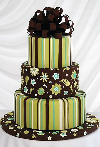 The stripes are spot on - this cake almost looks like a stack of gifts the patterns are so well executed!