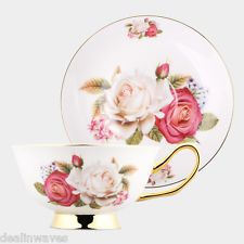 Vintage China Style Fine Bone China Coffee Tea Cup and Saucer Set 180ml
